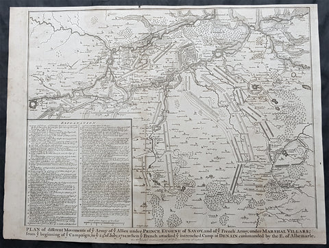 1745 Tindal Large Original Antique Map Battle Plan of Denain, France in 1712