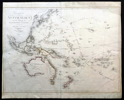 1815 Swoboda & Hartl Large Old, Antique Map of Ulimaroa New Holland, New Zealand - Rare