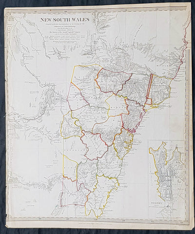 1833 SDUK Antique Map of New South Wales, Australia with inset plan of Sydney