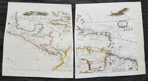 1693 Coronelli Antique Globe Gores x 2 of The Caribbean, Central & South America