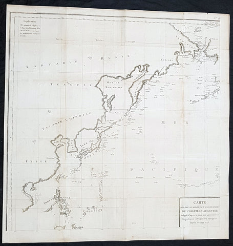 1775 La Perouse Antique Map of NW Pacific, Bering Straits to China, Philippines