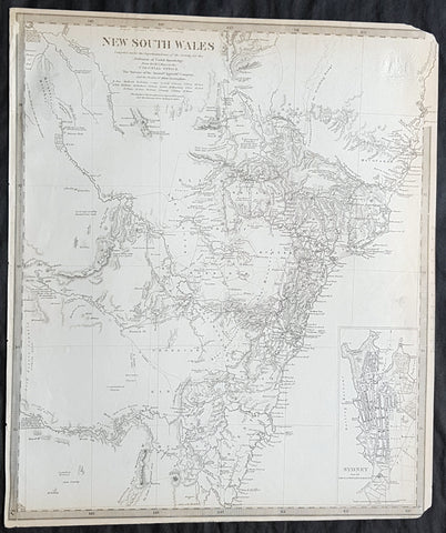1833 SDUK Antique Map of New South Wales w/ inset Map of Sydney Town, Australia