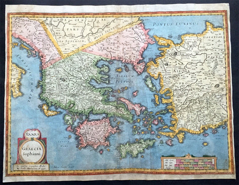 1596 Hondius Large Antique Map of Greece - Ist Edition