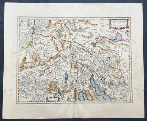 1636 Mercator Hondius Large Old, Antique Map Zurich & Basel Cantons, Switzerland