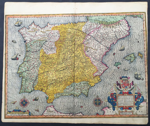 1607 Mercator Antique Map of Spain & Portugal