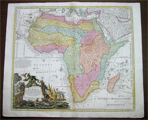 1730 Georg Mattraus Seutter Large Antique Map of Africa