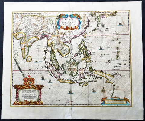 1639 Hondius Antique Map East Indies, India to China & 1st Map to show Australia