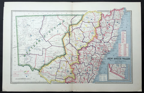 1888 Pic Atlas Large Antique Map of NSW, Australia Political & Local Borders