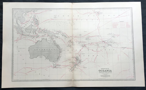 1888 Large Pic Atlas Large Antique Map Oceania Australia, New Zealand