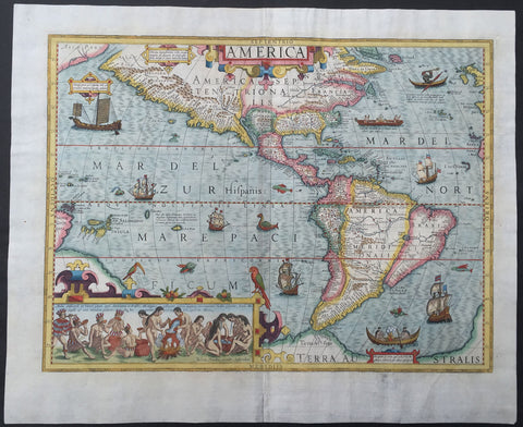 1630 Jodocus Hondius Antique Map of America
