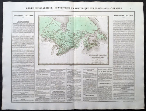 1825 Carey & Lea Buchon Large Antique Map of East Canada & The Great Lakes