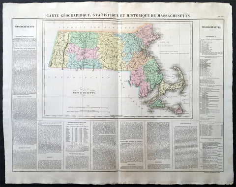 1825 Carey & Lea, Buchon Large Antique Map of the State of Massachusetts, USA