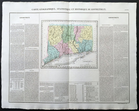1825 Carey & Lea, Buchon Large Antique Map of the State of Connecticut, USA