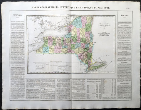 1825 Carey & Lea, Buchon Antique Map of the State of New York, USA