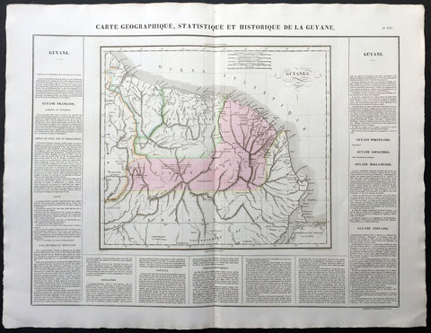 1825 Carey & Lea, Buchon Large Antique Map of Guyana South America