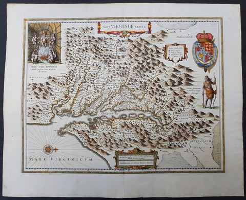 1633 John Smith & Hondius Original Antique Map of Virginia, Chesapeake Bay - Pocahontas