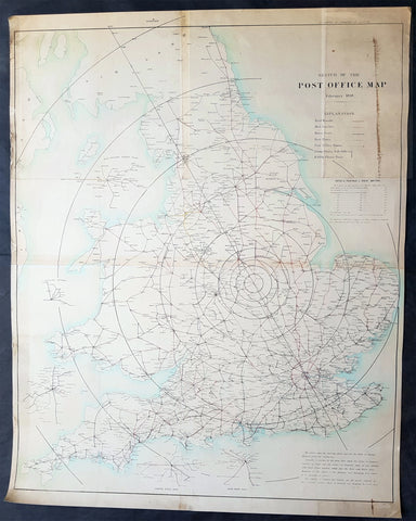 1838 Basire Antique Rare British Postal Map Uniform Penny Post, Sir Rowland Hill