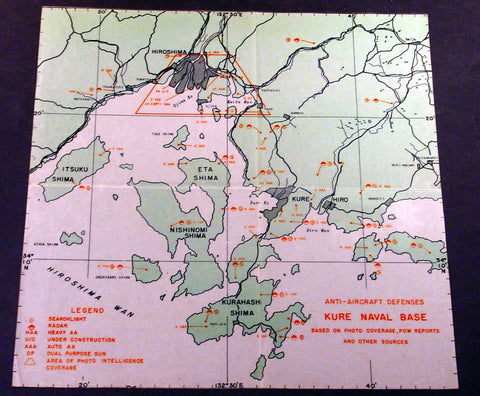 1945 Original US Army Airforce Map Defenses of Hiroshima & Naval Base at Kure Ko, Japan