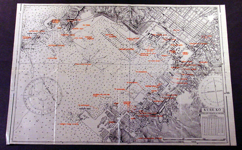 1945 Original US Army Airforce Map of Hiroshima Japan Kure Submarine Naval Base, Atomic Bomb