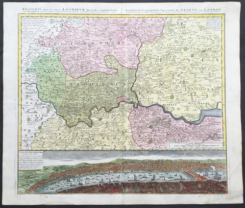 1741 Large Homann Antique Map of London Surrey - Birds Eye View of London