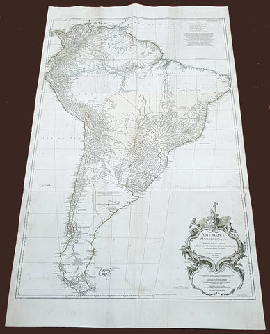 1768 D Anville Large Antique Map of South America