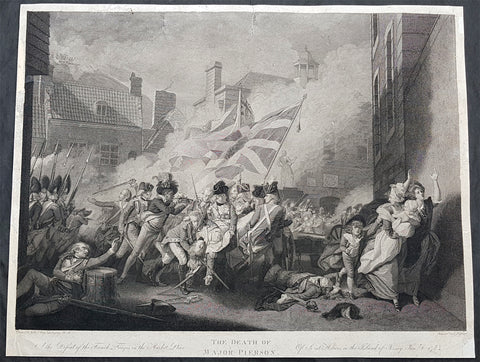 1800 John Singleton Copley Large Antique Print Death of Major Pierson, Jersey
