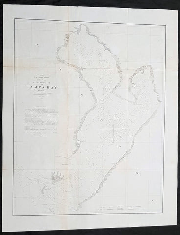 1855 US Coast Survey & AD Bache Antique Map of Tampa Bay, Florida