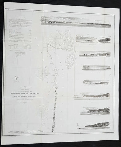 1855 US Coast Survey Large Antique Map NW Coast of America, California, Oregon