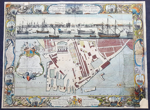 1754 Milton, Cleveley, Canot Antique Plan View Portsmouth Dockyards, HMS Victory