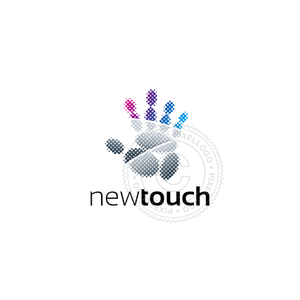 Touch Technology Logo - Hand Palm Print being scanned | Pixellogo
