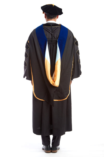 PhD Hood with Gold & Light Blue Lining