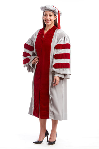 MIT Doctoral Rental Regalia Set. Premium Grey and Cardinal Red Gown with Eight-Sided Cap/Tam including Red Tassel