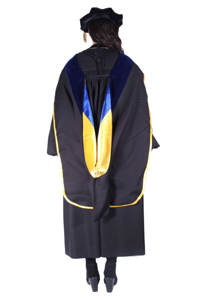 PhD Hood with Yellow & Blue Lining
