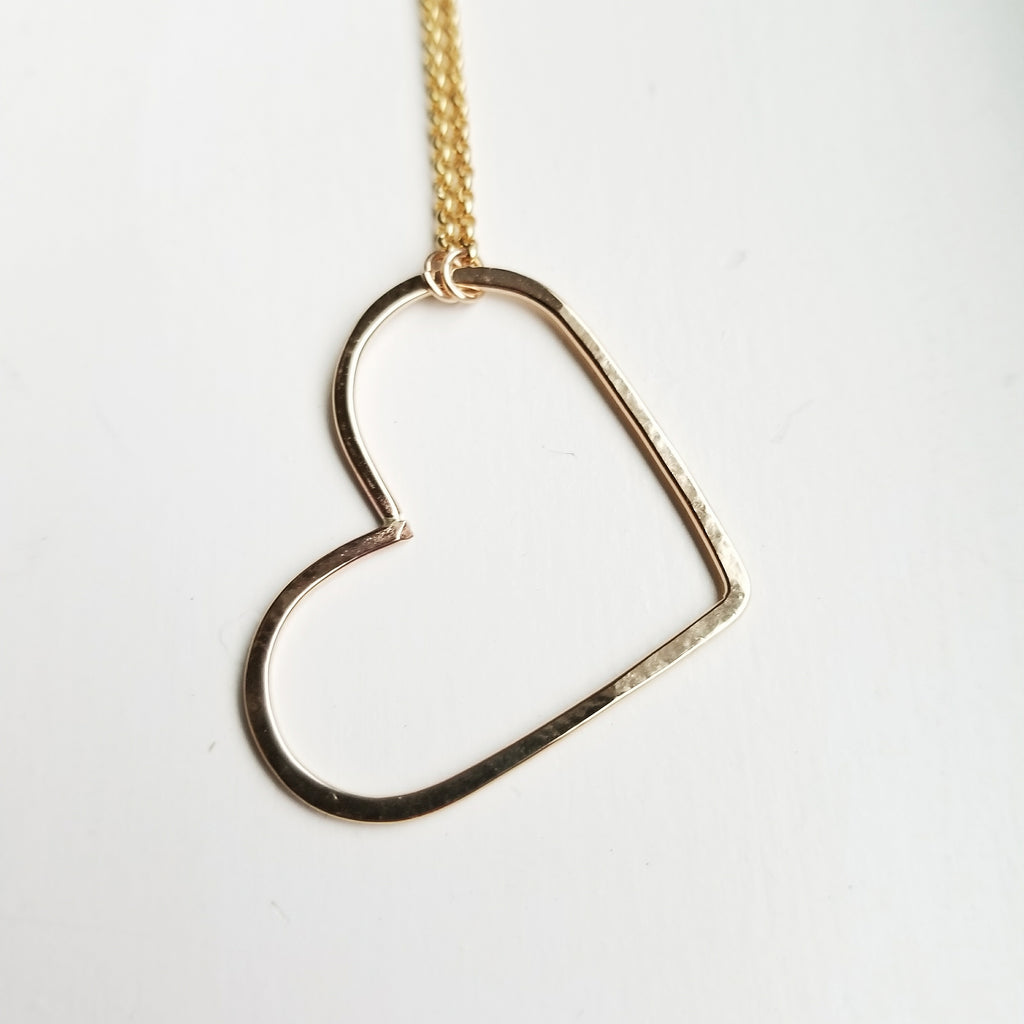 Small - open heart necklace - 14k gold filled