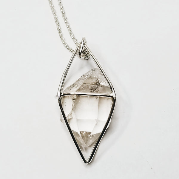 Caged crystal - sterling silver
