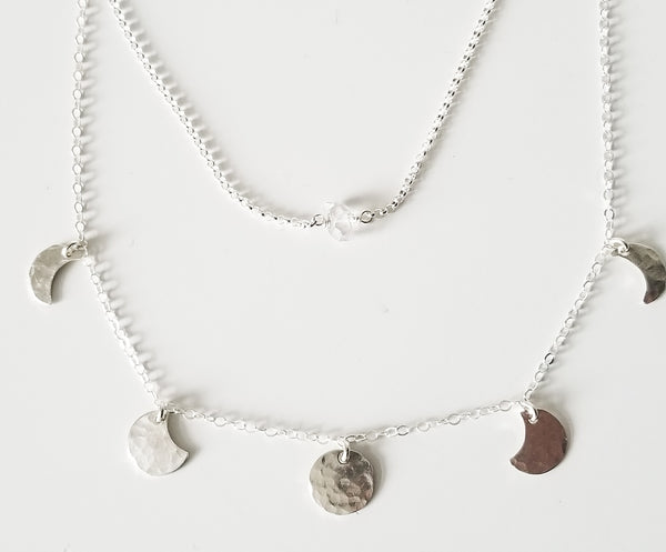mini moonphase necklace - sterling silver