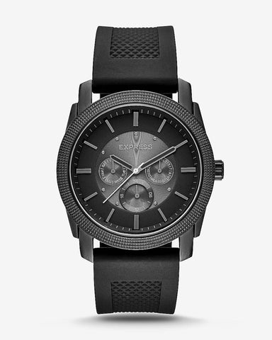 MAXWELL MARTIN: Rivington Textured Silicone Multifunction Watch - Black $128.00