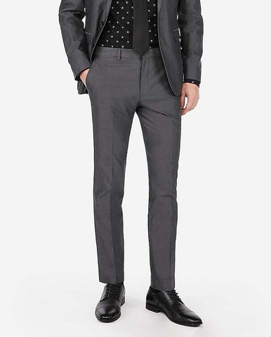 MAXWELL MARTIN: Extra Slim Charcoal Cotton Oxford Suit Pant