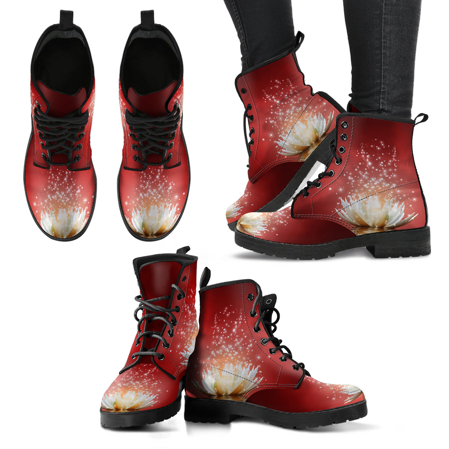 Lotus Red Background Handcrafted Boots