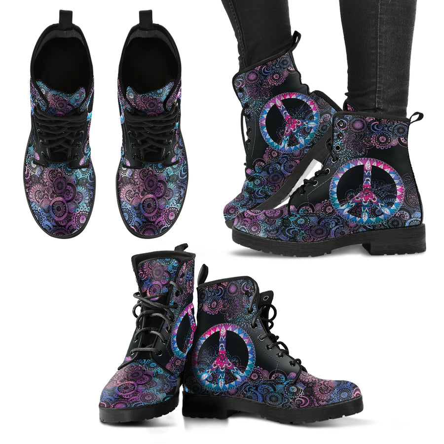 Purple Peace Mandala Handcrafted Boots