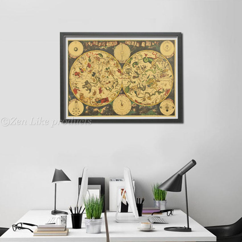 """ FREE"" Zodiac Constellation Map Poster"