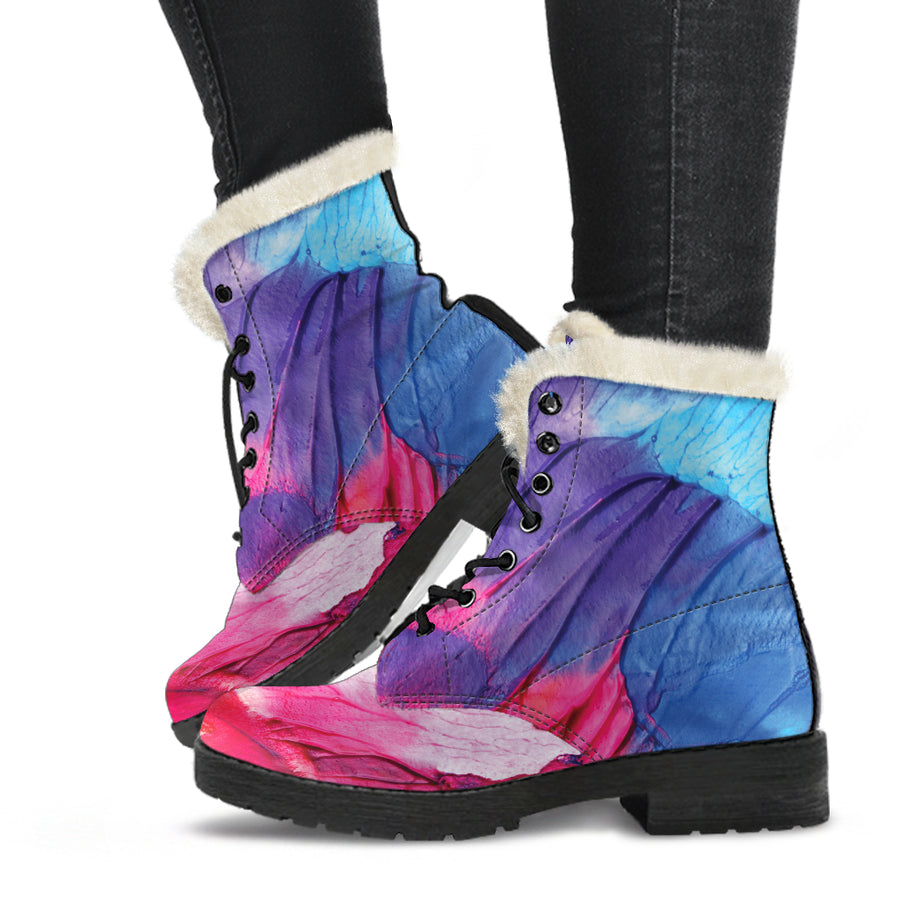 Abstract Oil Paintings P2 - Faux Fur Leather Boots