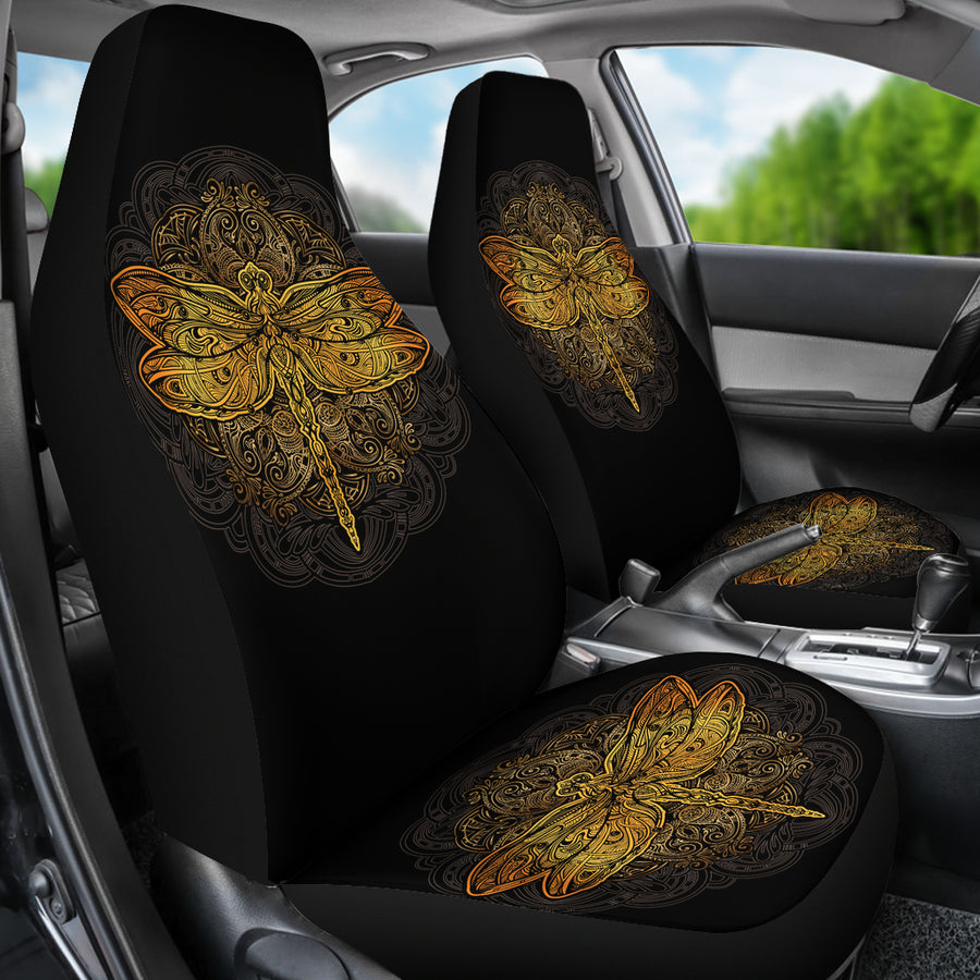 Golden Dragonfly Car Seat Covers