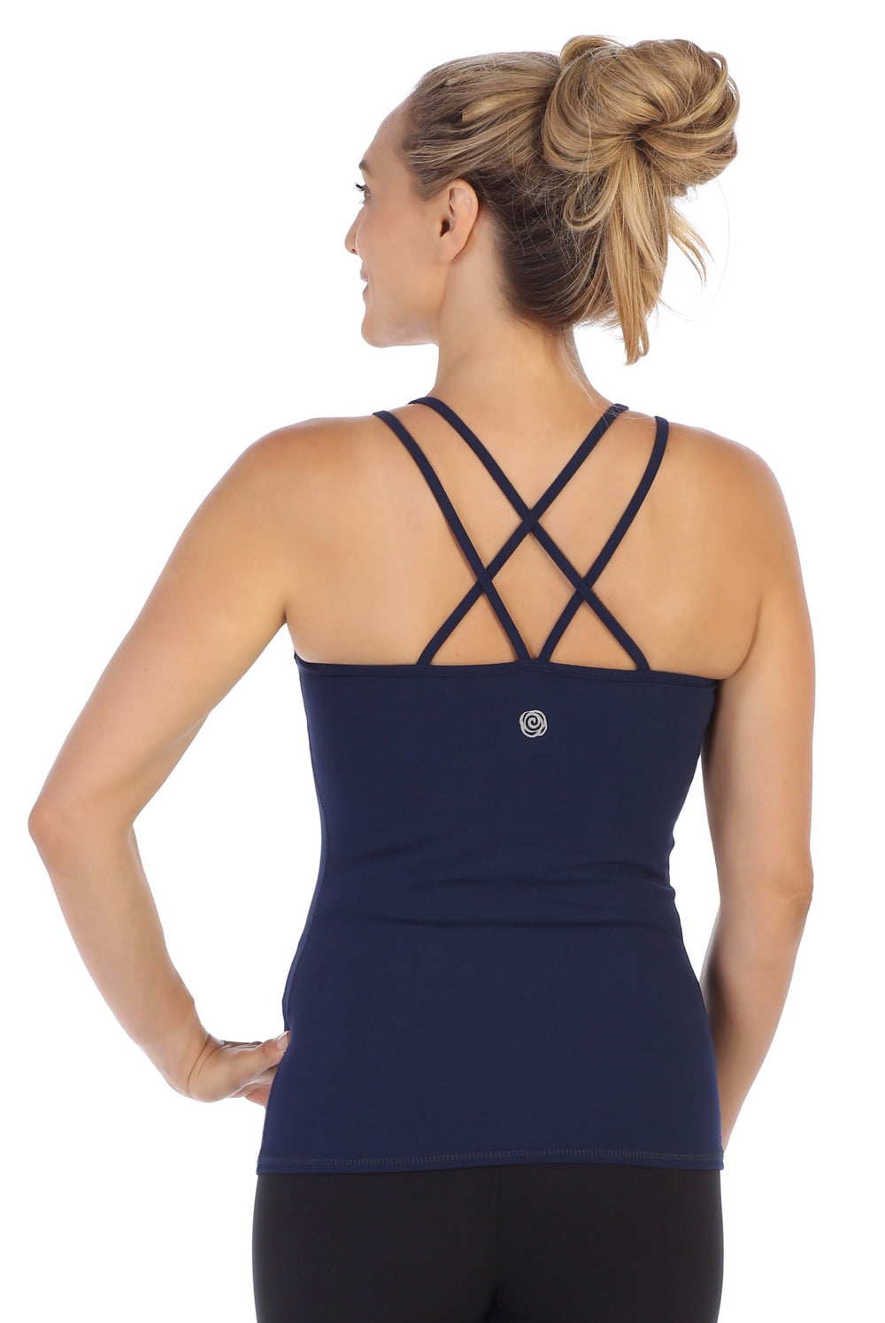 Navy-Strappy Back Workout Tank Top-back