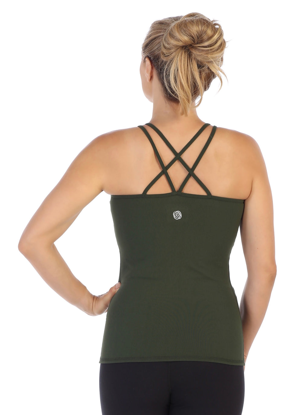 Olive-Strappy Back Workout Tank Top-back