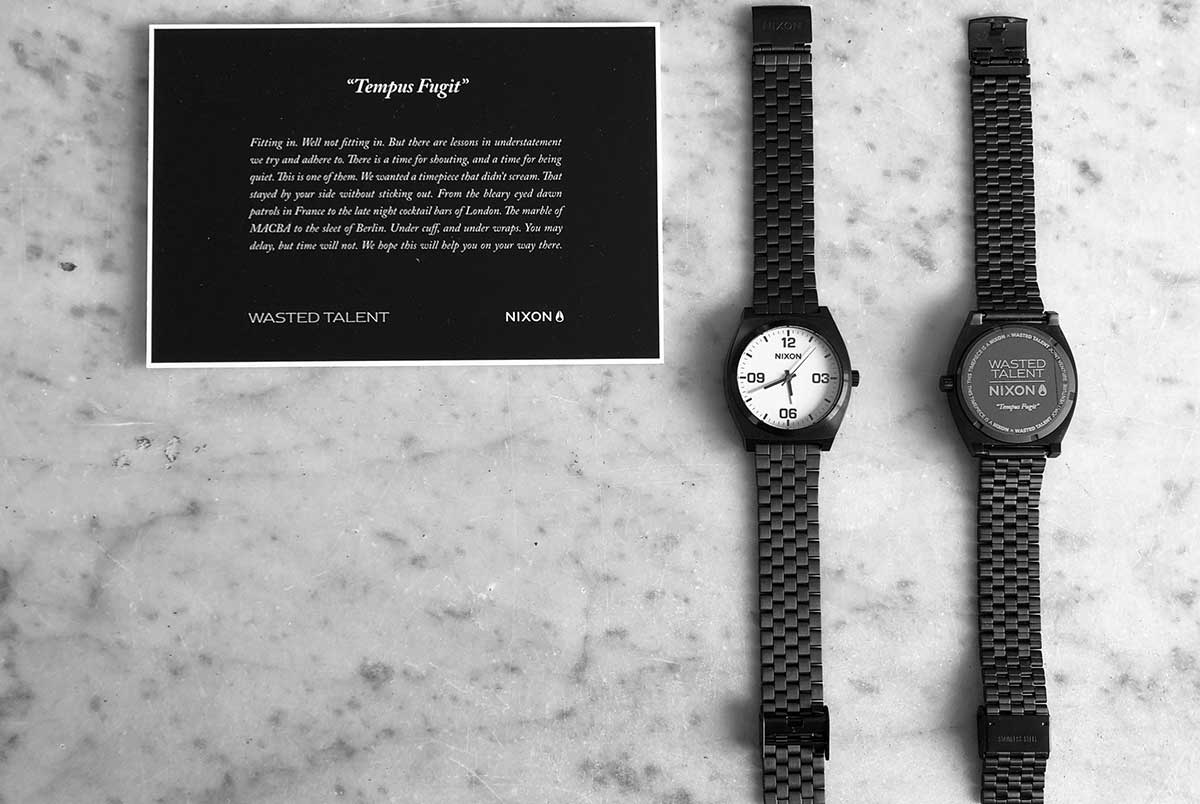 nixon x wasted talent time teller watch black white hossegor summer
