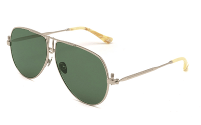 Epøkhe Lev Sunglasses - Silver Polished / Green