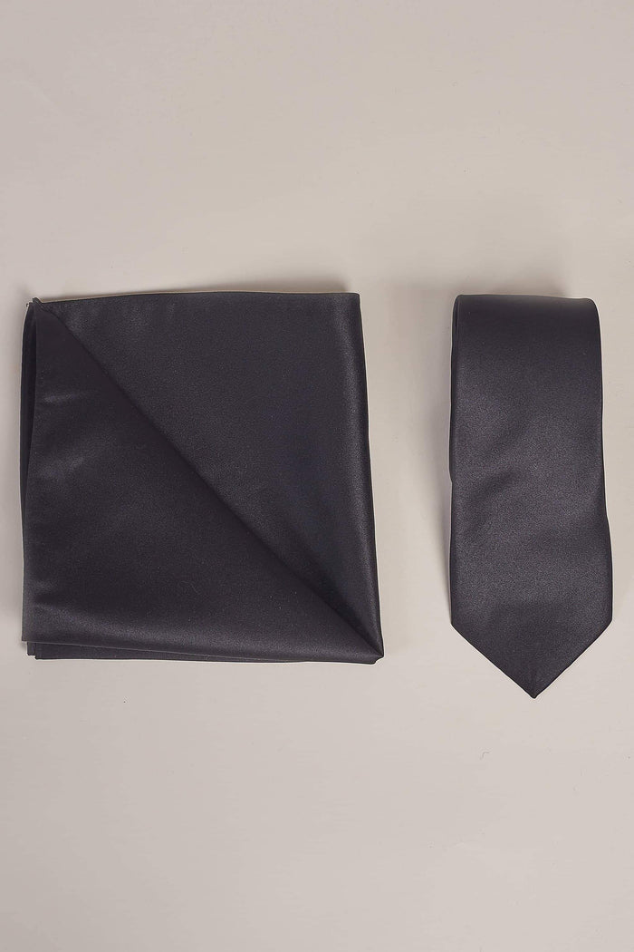 Black Plain Tie, Pocket Square & Tie Clip Set Black