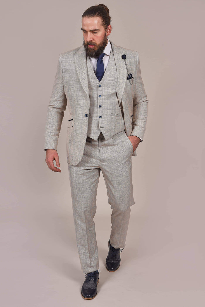 Cavani Caridi Beige Check Tweed Style Trousers