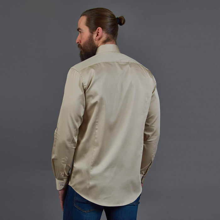 Guide London Beige Shirt with Paisley Inspired Contrast